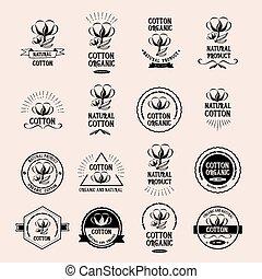 graphic., product., vettore, organico, tesserati magnetici, disegno, cotone