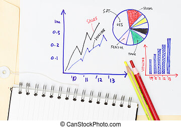 Graphic representation of business abstract - many graphs with pencils