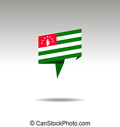 graphic representation of the location designation in the origami style with a flag Abkhazia on a gray background