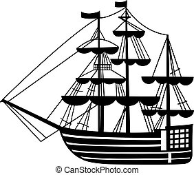 sailing-ship - graphic sailing-ship pen drawing silhouette
