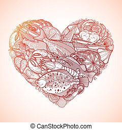 Graphic seafood in the shape of heart