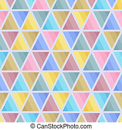 Graphic Seamless Pattern of Triangular Geometric Elements of Blue, Brown, Pink, Yellow, Grey Pastel Colors.
