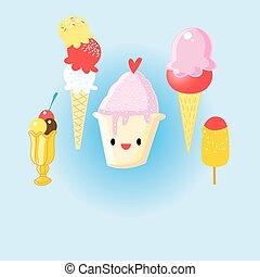 Graphic set of cheerful delicious ice cream