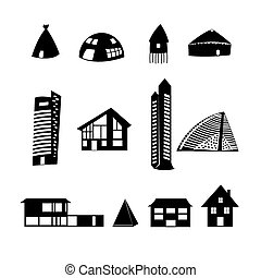set of different buildings