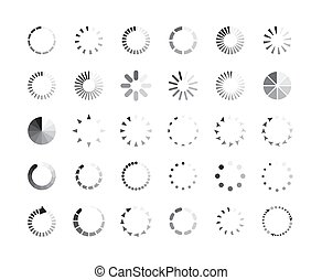 Graphic set of progress loaders circle icons vector illustration isolated.