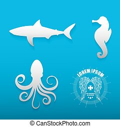 Graphic set of various sea animals contours