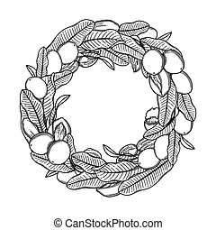 Graphic shea wreath isolated on white background - Graphic ...