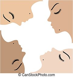 Graphic showing unity amongst beautiful women of different...