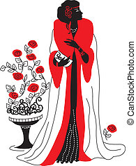Graphic silhouette of a art deco woman. Fashion luxury