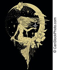 Graphic silhouette of a art deco woman. Moon and stars queen. Flat style illustration. Fashion luxury