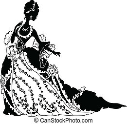 Graphic silhouette of a rococo woman. Fashion luxury
