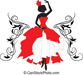 Doodle graphic silhouette of a woman. Ballerina with floral ornament.