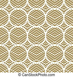 Graphic simple ornamental tile, vector repeated pattern made using circles. Vintage art abstract seamless texture can be used as wallpaper and in textile design.