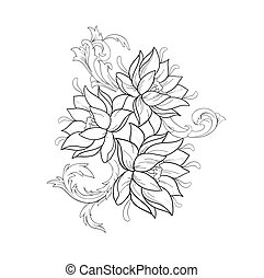 Graphic sketch of lotuses in ornament on a white background....