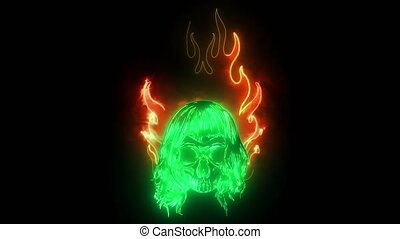 Graphic Skull Image Template with Flames