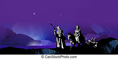 Graphic starry Christmas night journey to Bethlehem -...