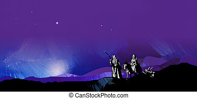 Graphic starry night journey to Bethlehem - Graphic...