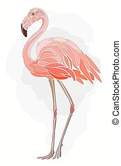 Graphic, stylized drawing of flamingos on a light background