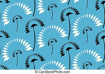 Graphic stylized white and black palms.
