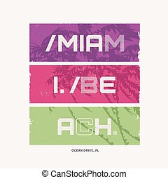 Graphic t-shirt design on the topic of Miami Beach Florida. Vector illustration