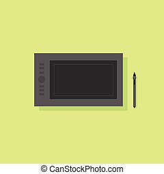 graphic tablet flat icon design vector