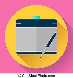 Graphic tablet icon. CG artist and Designer symbol. Flat design style.