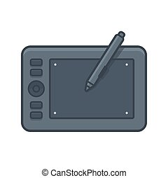 Graphic tablet illustration - Graphic tablet with stylus,...