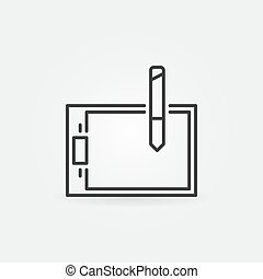 Graphic tablet vector icon in thin line style