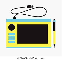 Graphic Tablet with Keys Vector
