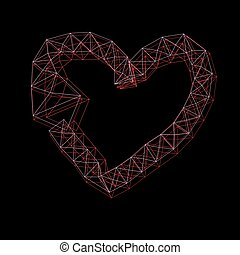 Graphic thin frame heart on a dark background
