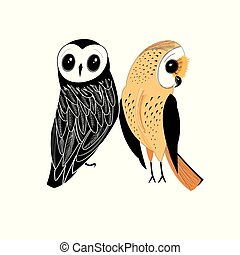 Graphic two owls