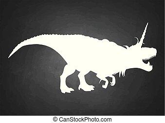 Graphic tyrannosaurus with unicorn horn and mane.