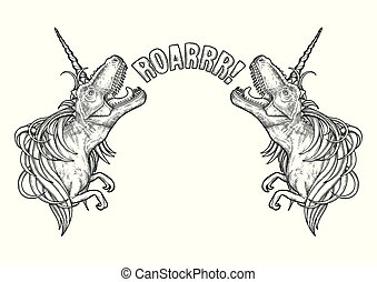 Graphic tyrannosauruses with unicorn horn and mane