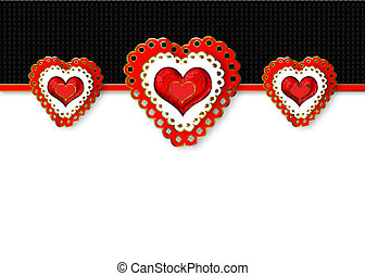 Graphic Valentine Background with 3 Large Red Fancy Hearts