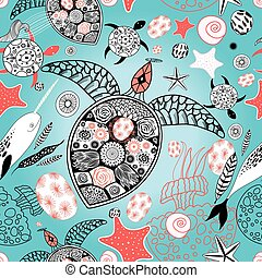 turtle swims with fish narwhal - Graphic vector illustration...
