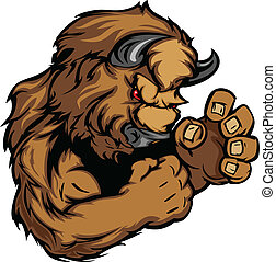 Buffalo or Bison Fighting Mascot Body Vector Illustration
