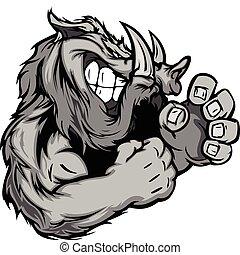 Razorback or Boar Fighting Mascot Body Vector Illustration