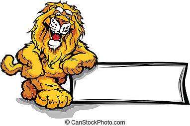 Graphic Vector Image of a Happy Cut - Lion Head Smiling...