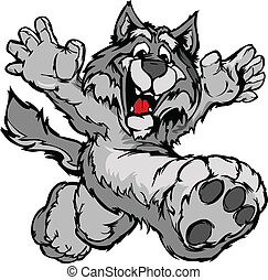 Smiling Coyote or Wolf Running with hands Mascot Vector Illustration