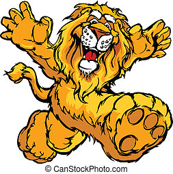 Graphic Vector Image of a Happy Run - Smiling Lion Running...