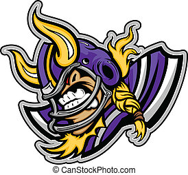 Graphic Vector lmage of a Viking Football Mascot with Horns on Football Helmet