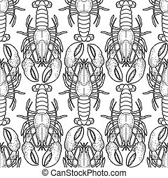 Graphic vector lobster pattern