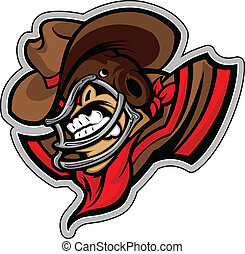 Graphic Vector Sports lmage of a Snarling American Football Cowboy Mascot with Horns on Football Helmet