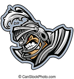 Graphic Vector Sports lmage of a Snarling American Football Medieval Knight Mascot with Armor on Football Helmet