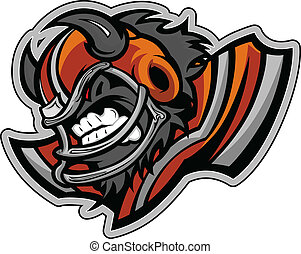 Graphic Vector Sports lmage of a Snarling American Football Buffalo Mascot with Horns on Football Helmet