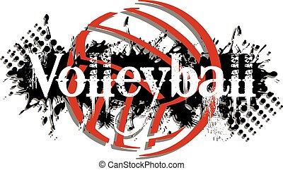 graphic volleyball design with splatter background