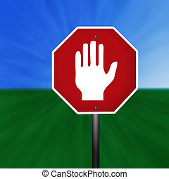 Graphic Warning Hand Sign - A stop sign with warning hand ...