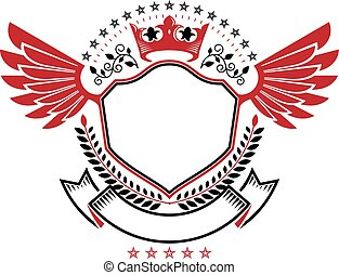 Graphic winged emblem composed with royal crown element, laurel wreath and pentagonal stars. Heraldic Coat of Arms decorative logo isolated vector illustration.