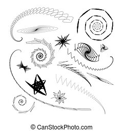 Graphical abstract a set of different swirls and stars on a...