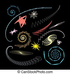 Graphical abstract a set of glowing swirls and stars on a...